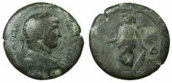 Ancient Coins - EGYPT.ALEXANDRIA.Hadrian AD 117-138.AE.Drachma, struck AD 129/130. ~#~.Athena standing left holding Nike