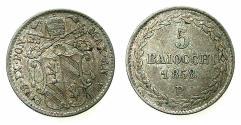World Coins - VATICAN.Pope Pius IX AD 1846-1878.AR.5 Baiocchi.1858B. Bologna mint.
