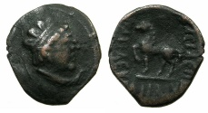 Ancient Coins - INDO-GREEK.BAKTRIA.Heliokles circa 145-130 BC.AE.Drachma-reduced attic standard.~#~.Horse standing left.