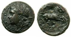 Ancient Coins - SICILY.SYRACUSE.Hiketas II 287-278 BC.AE.20.7mm. Head of Kori left facing.