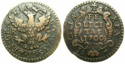World Coins - ITALY.Kingdom of NAPLES.Charles II of Spain and Sicily 1665-1700.AE.Grano.1700.