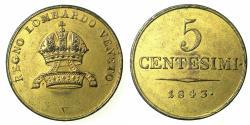 World Coins - ITALY.LOMARDY AND VENETIA, under AUSTRIA.Ferdinand AD 1835-1848.AE.5 Centesimi 1843.VENICE mint. Coin with contemporary guilding