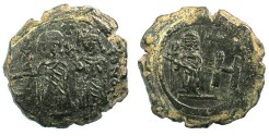 Ancient Coins - BYZANTINE EMPIRE.CHERSON.Maurice Tiberius and Constantina and Theodosius.AE.Octanummia( Follis)