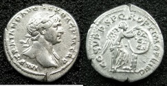 Ancient Coins - ROME.Trajan AD 98-117.AR.Denarius struck circa AD 103-111.Mint of ROME.~#~Victory inscribing shield DACICA
