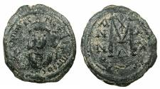 Ancient Coins - BYZANTINE EMPIRE.Maurice Tiberias AD 582-602.AE.Follis. struck AD 601/2.Mint of CONSTANTINOPLE. Emperor wearing consular robes.