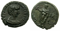 Ancient Coins - EGYPT.ALEXANDRIA.Salonina, wife of Gallieus AD 253-268.Billon Tetradrachm, struck AD 264/65.~#~. Elpis standing.