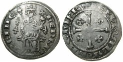 Ancient Coins - CRUSADER STATES.CYPRUS.Henry II 2nd reign 1310-1324.AR.Gros.Series 3.~~~Three lys in field. Extremely Rare.