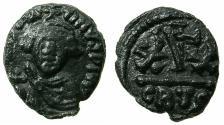 Ancient Coins - BYZANTINE EMPIRE.Constans II AD 641-668.AE.Half follis.Mint of CARTHAGE.