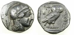 Ancient Coins - ATTICA. ATHENS AR Tetradrachm .struck after 449 BC. Athena with most of helmet on flan.