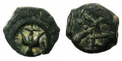 Ancient Coins - JUDAEA.Hashmonean.Alexander Jannaeus 103-76 BC.AE.Prutah.Mint of JERUSALEM.Crude style.