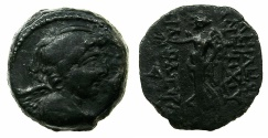 Ancient Coins - SELEUCID EMPIRE.Antiochus IX 2nd reign circa 110/09-108/07 BC.AE.Uncertain phoenician mint.~#~Nike.
