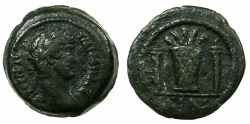 Ancient Coins - EGYPT.ALEXANDRIA.Hadrian AD 117-138.AE.Obol, struck AD 126/27.~#~.Modius with ears of corn and poppies, torch either side.
