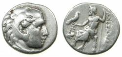 Ancient Coins - MACEDONIAN EMPIRE.Alexander III 336-323 BC.AR.Drachma, life time issue struck circa 328-323 BC.Mint of ABYDUS.