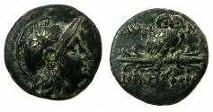 Ancient Coins - MYSIA.PERGAMUM.Circa 200-133 BC.AE.17mm. Unpublished varient with owl perched on THUNDERBOLT.