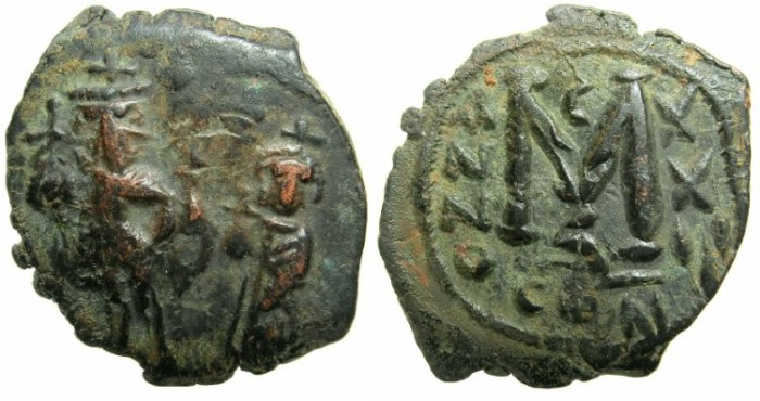Ancient Coins - BYZANTINE EMPIRE.Heraclius AD 610-641.AE.Follis, struck AD 632/3.Mint of CONSTANTINOPLE.