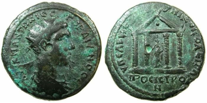 Ancient Coins - MOESIA INFERIOR.NIKOPOLIS AD ISTRUM.Gordian III AD 238-244.~#~Tetrastyle temple, Homonia in centre.