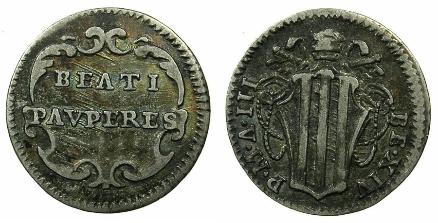 World Coins - ITALY.PAPALCY.Pope Benedict XIV 1740-1758.AR.Half grosso.ROME.1743.