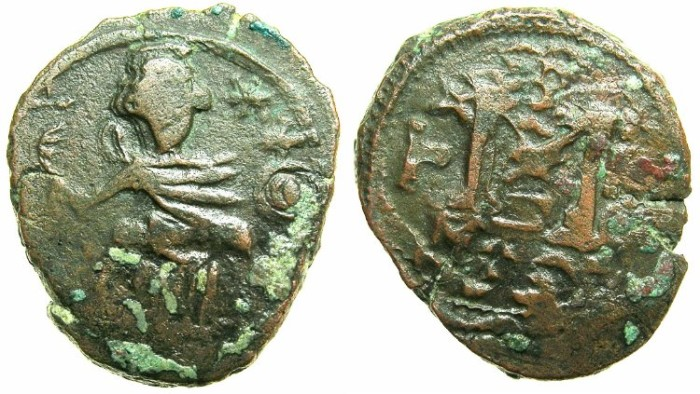 "Ancient Coins - ARAB-BYZANTINE.7th cent.AD."" Pseudo Damascus"" mint.AE.Fals.~~~Seated imperial figure."