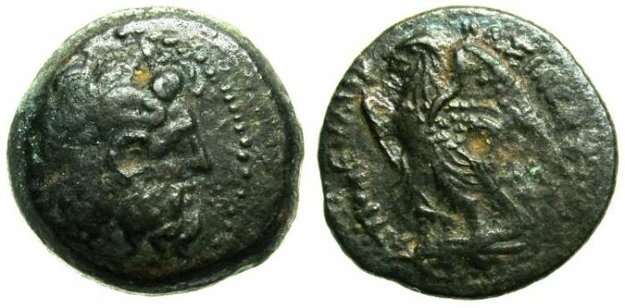 Ancient Coins - EGYPT.Ptolemaic Empire.Ptolemy II Phiadelphus 285-246 BC.AE.Dichalkon.~~~Zeus Ammon.~#~.Eagle.