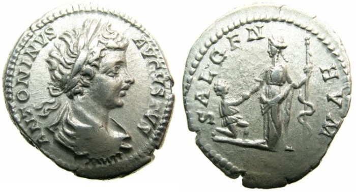 Ancient Coins - ROMAN.Caracalla Augustus AD 198-209.AR.Denarius undated c.199-200.~~~Salus with kneeling figure before her.