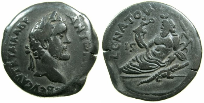 Ancient Coins - EGYPT.ALEXANDRIA.Antoninus Pius AD 138-161.AE.Drachma, struck AD 145/146.~#~.Nilus reclining holding cornucopiae from which emerges genius.