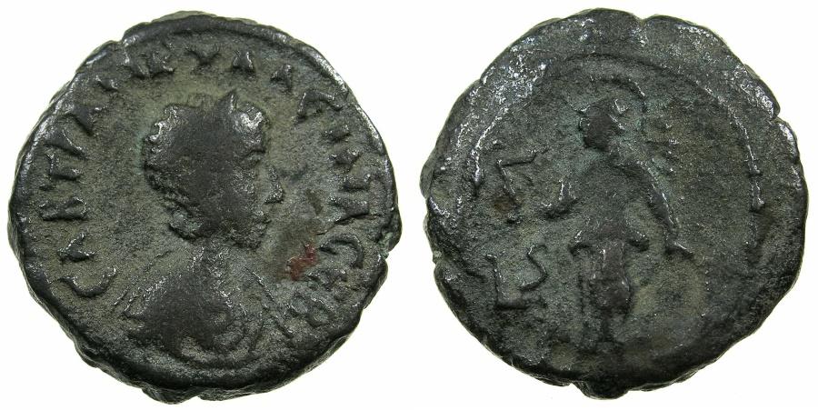 Ancient Coins - EGYPT.ALEXANDRIA.Tranquillina Augusta, wife of Gordian III AD 238-244.Billon Tetradrachm, struck AD 242/43.~#~.Athena standing holding Nike.