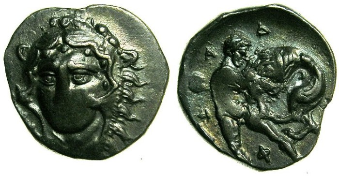 Ancient Coins - CALABRIA.Tarentum.4th-3rd cent BC.AR.Diobol.~~~Facing Herakles.~#~Herakles fighting lion. ***RARE TYPE***