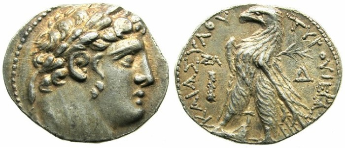 Ancient Coins - PHOENICIA:Tyre.AR.Shekle. Year 37 (over 35)= 90/89 BC.Melquath (Herakles).Eagle on prow of gallery