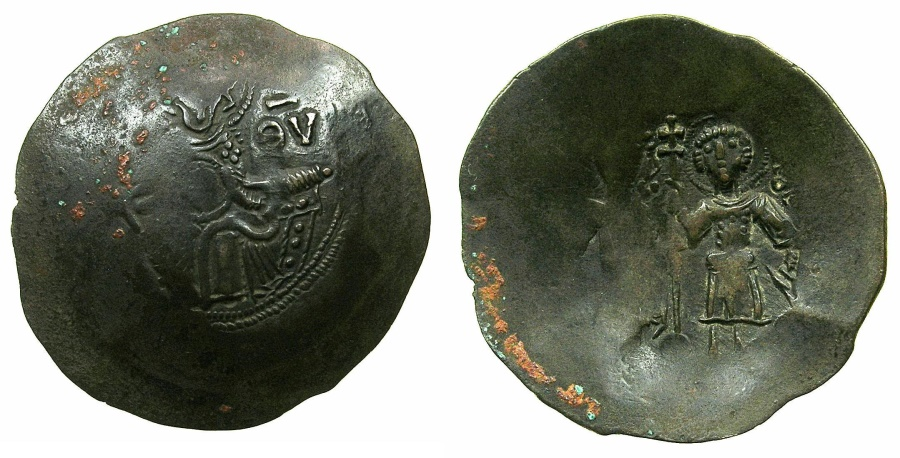 Ancient Coins - CYPRUS.Isaac Comnenus , usurper in Cyprus AD 1184-1191.Billon Aspron Trachy. Mint of NICOSIA?