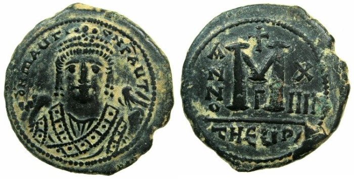 Ancient Coins - BYZANTINE EMPIRE.Maurice Tiberius AD 582-602.AE.Follis, struck AD 595/96.Mint of THEOUPOLIS ( ANTIOCH ).