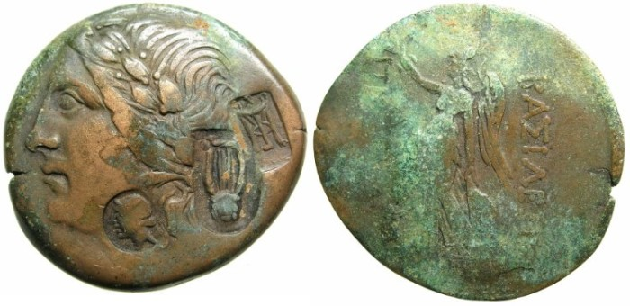 Ancient Coins - BITHYNIA.Prusias I or II C 238-149 BC.AE.28.~~~Apollo laurate.~#~Athena-Nike.Countermarked with Head of Artemis,tripod and lyre.