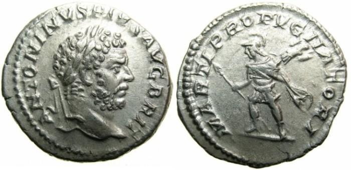 Ancient Coins - ROMAN.Caracalla Sole Emperor AD 212-217.AR.Denarius undated c.210-213.~~~Augustus Brit~~~Mars.