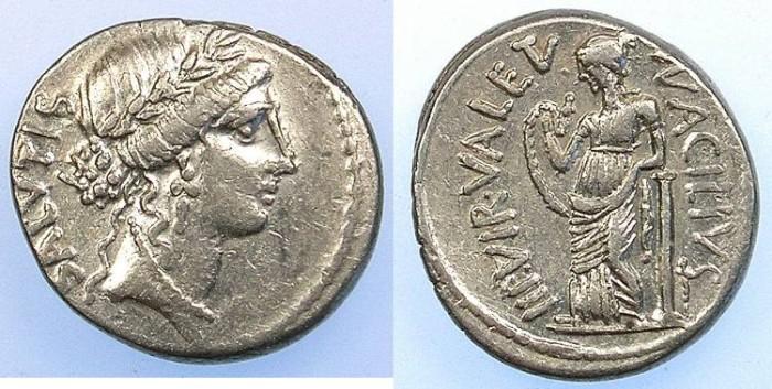 Ancient Coins - ROME Republic Mn.Acilius Glabrio 49BC AR.Denarius Rev.Valetudo standing.