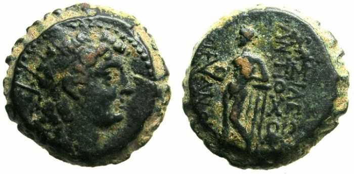 Ancient Coins - SELEUCID EMPIRE.Antiochus VI Dionysos 144-142/1 BC.AE.20.Radiate bust.Apollo