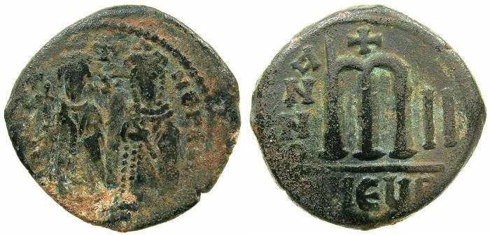 Ancient Coins - BYZANTINE EMPIRE.Phocas AD 602-610.AE.Follis, struck AD 603/4.Mint of ANTIOCH-THEOUPOLIS.