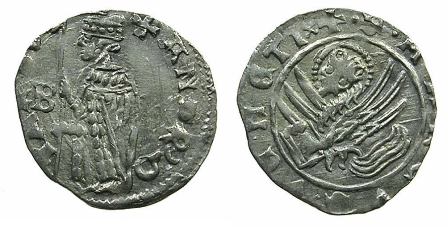 World Coins - VENICE.Andrea Contarini AD 1368-1382.AR.Soldino.2nd Type.1st.issue.issued by Edit dated 19th December 1369.~~~Sigla B.