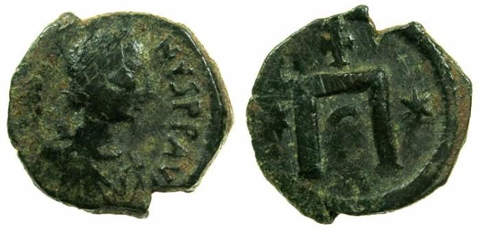 Ancient Coins - BYZANTINE EMPIRE.Justin I AD 518-527.AE.Pentanummium.Uncertain mint ( Constantinople?)