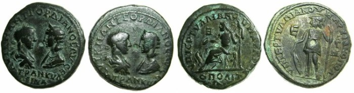 Ancient Coins - MOESIA INFERIOR.MARCIANOPOLIS.Gordian III and Tranquillina AD 241-244.AE.5 Assaria.Obv.Die match. ~#~Zeus enthroned and Athena standing.