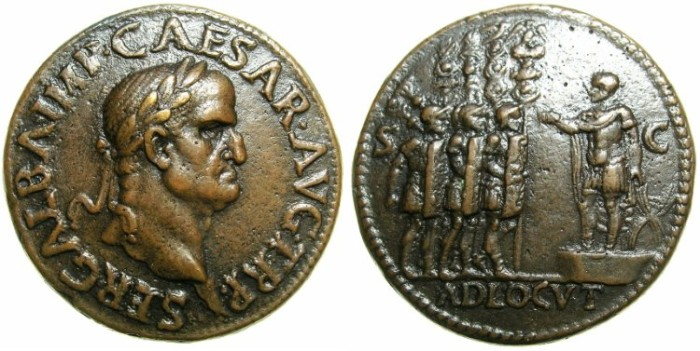 "Ancient Coins - ROMAN.Galba AD 68-69.AE.""Paduan"" after Giovanni Cavino 1500-1570.""Sestertius Medallion"",mid. 18th to early 19th cent AD."