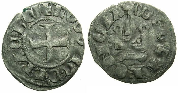 Ancient Coins - CRUSADER.GREECE.ACHAIA.Louis of Burgundy AD 1313-1316.Billon Denier.