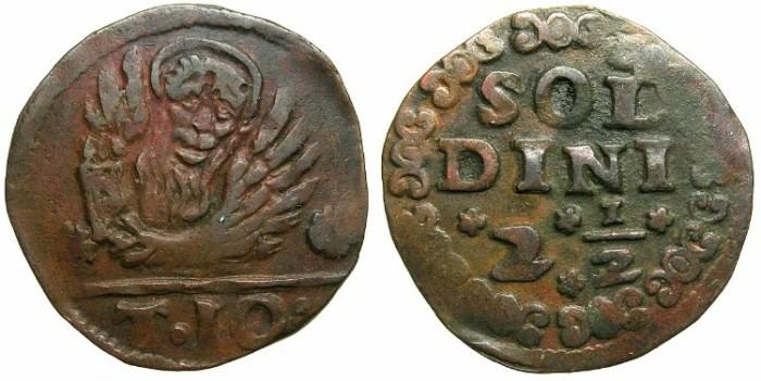Ancient Coins - VENICE for CRETE.Regno di Candia.Anonymous.AE.10 Tornezi ( 2 1/2 Soldini ) Struck 1611-1619.