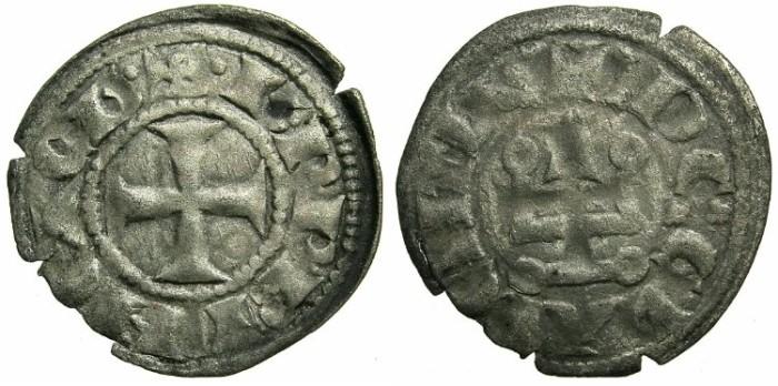 World Coins - CRUSADER STATES.GREECE.Principality of ACHAIA.Charles I or II of Anjou AD 1278-1285-1289. Bi.Denier.Type KA 101