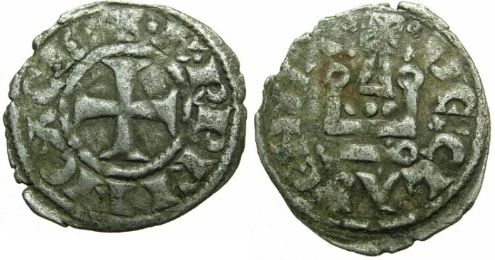 Ancient Coins - CRUSADER.ACHAIA.Charles I or II of Anjou AD 1278-1285-1289.Bi.Denier.Type KA 101.