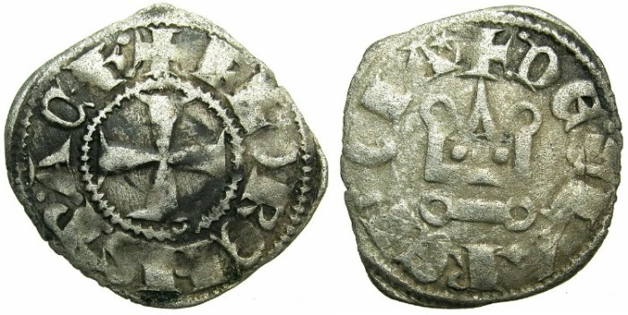 Ancient Coins - CRUSADER STATES.GREECE.Principality of ACHAIA.Florent of Hainault AD 1289-1297.Bi.Denier.Type F1.Mint of CORINTH.