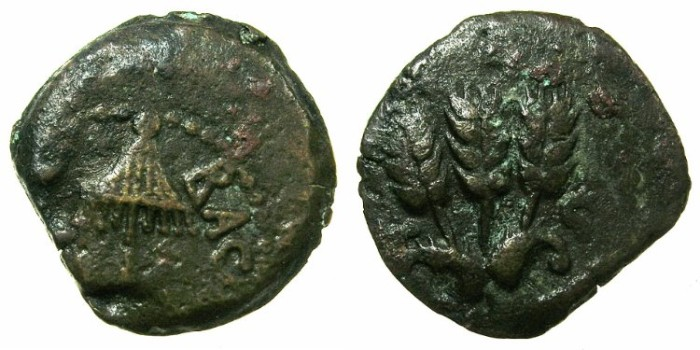 Ancient Coins - JUDAEA.HERODIAN.Agrippa I AD 37-44.AE.Prutah, struck AD 42.Mint of JERUSALEM