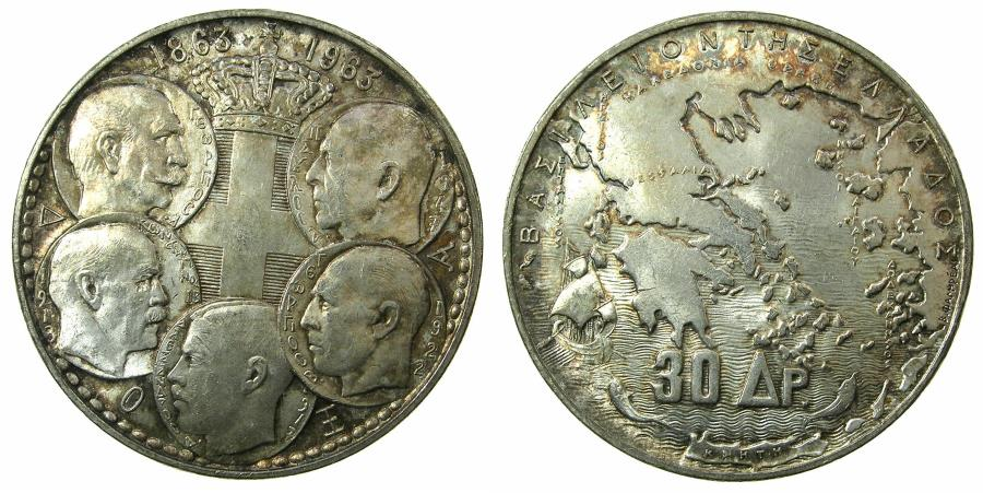 World Coins - GREECE.Kingdom.AR.30 Drachmai 1963.Dynastic comm.