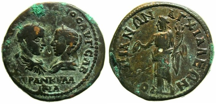Ancient Coins - THRACE.ANCHIALUS.Gordian III and Tranquillina AD 241-244.AE.27mm.~#~.Homonia.