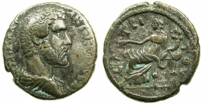 Ancient Coins - EGYPT.ALEXANDRIA.Antoninus Pius AD 138-161.Billon Tetradrachm, struck AD 139/40.~#~.Tyche seated.