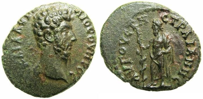 Ancient Coins - THRACE.AUGUSTA TRAIANA.Lucius Verus AD 161-169.AE.20.Asclepius.