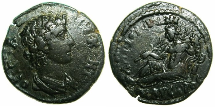Ancient Coins - LYDIA.HYPAEPA.2nd Cent AD.AE.20.9mm.~~~Bust of Roman Senate.~#~River god KAYSTROS reclining
